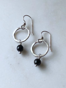 Sterling silver forged circle earrings with onyx gemstones
