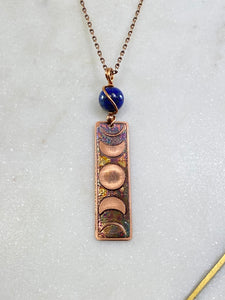 Acid etched copper moon phase necklace with lapis