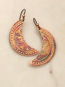 Acid etched copper moon earrings