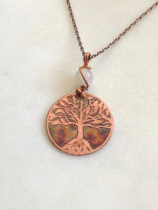Acid etched copper tree necklace with moonstone