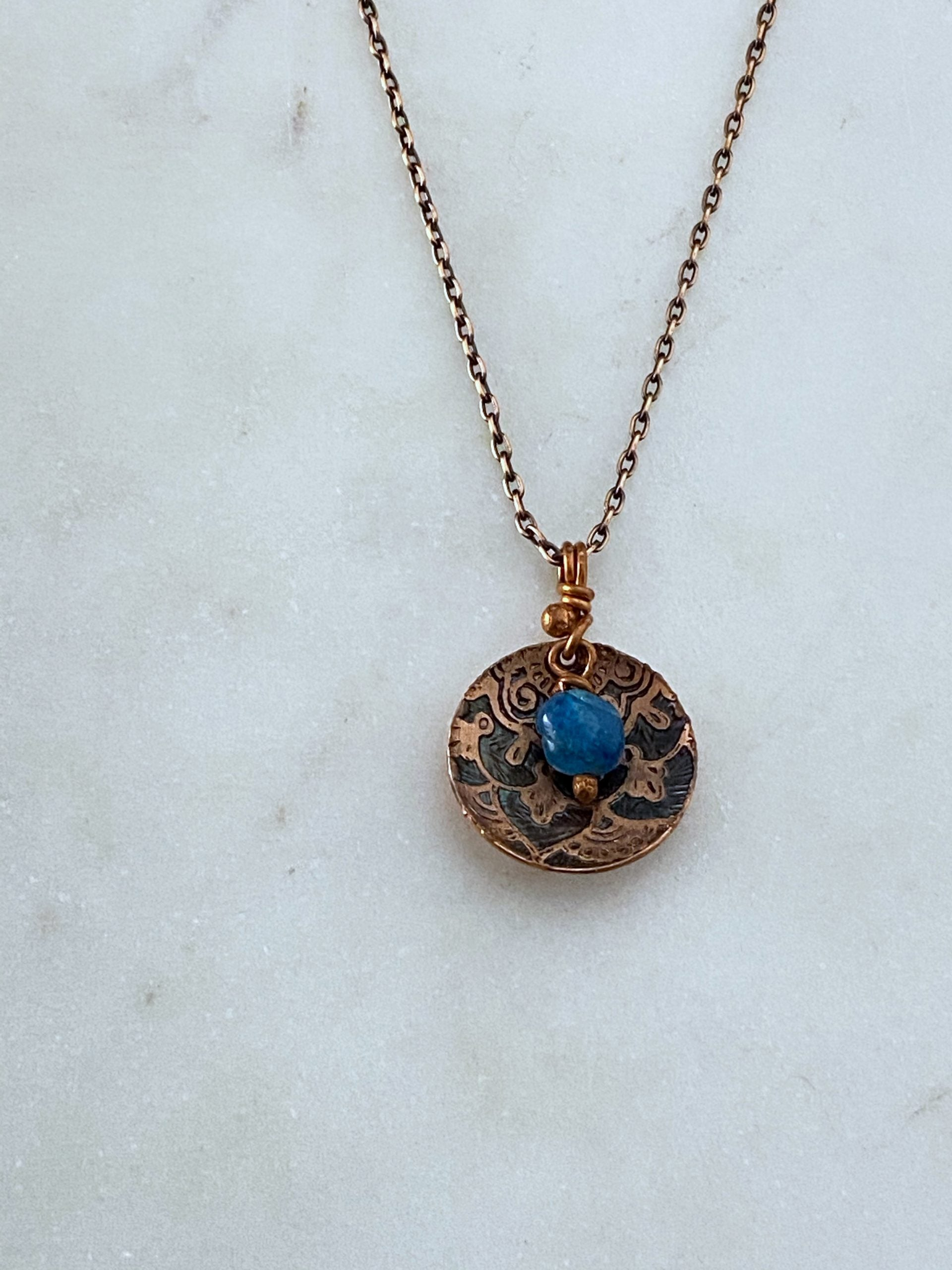 Acid etched copper cupped mandala dish necklace with apatite