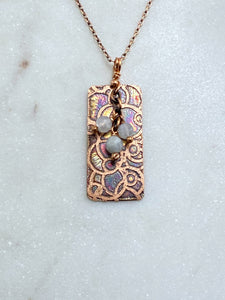 Acid etched copper open dot necklace with moonstone