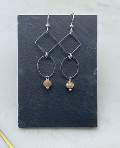Sterling silver drop earrings with peach moonstone