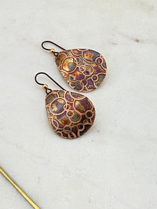 Acid etched copper open dot medium teardrop earrings