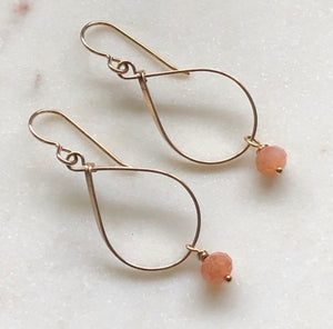 Medium teardrop gold-fill earrings with pink moonstone gemstones