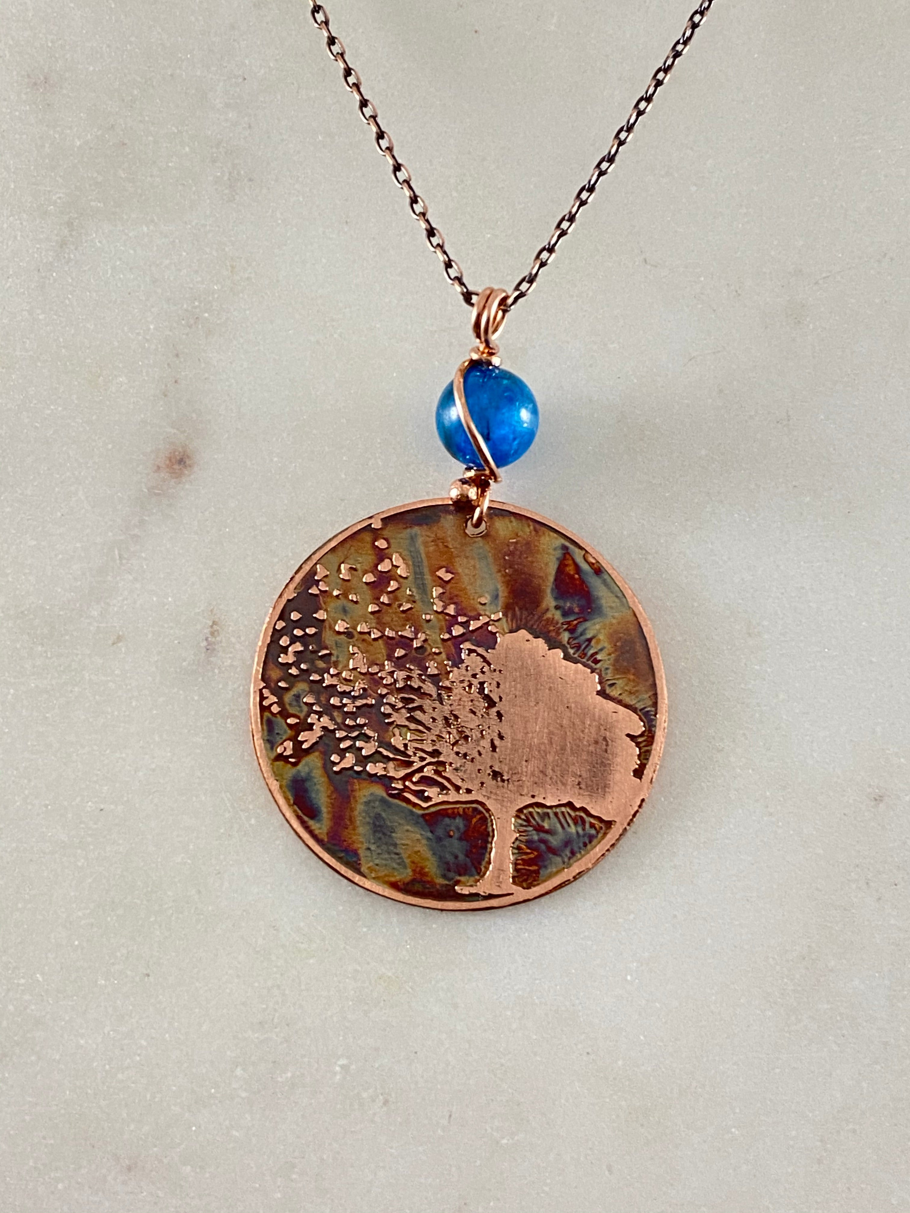 Acid etched copper tree necklace with apatite