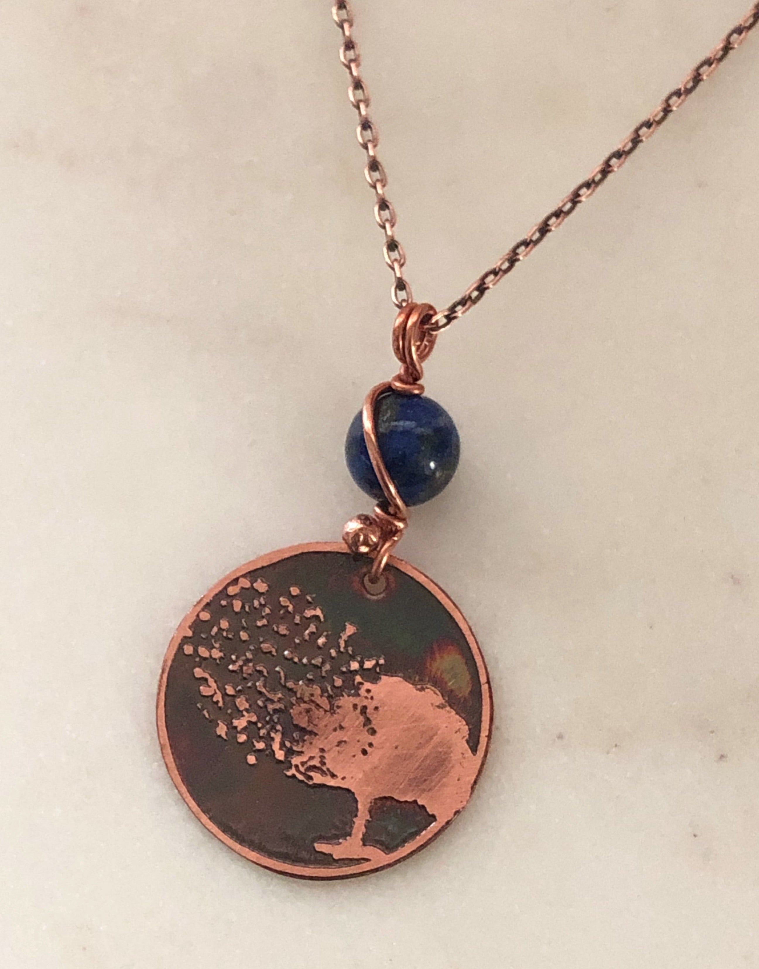 Acid etched copper blowing tree necklace with lapis