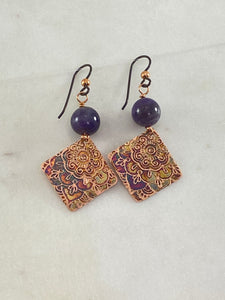 Acid etched copper earrings with amethyst gemstones