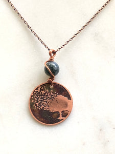 Acid etched copper blowing tree necklace with moss agate