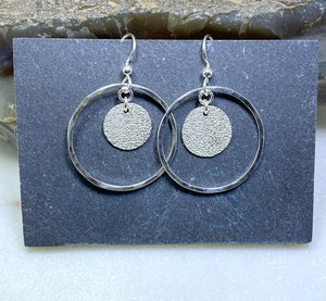 Forged sterling hoops with sterling disk