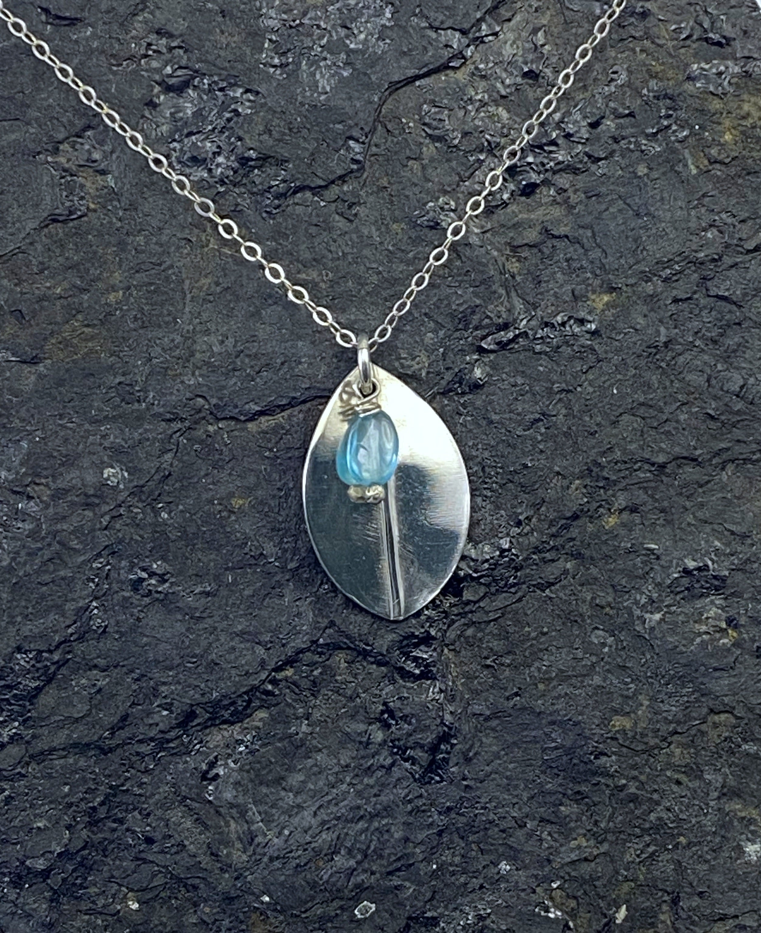 Forged sterling silver leaf necklace with apatite gemstone