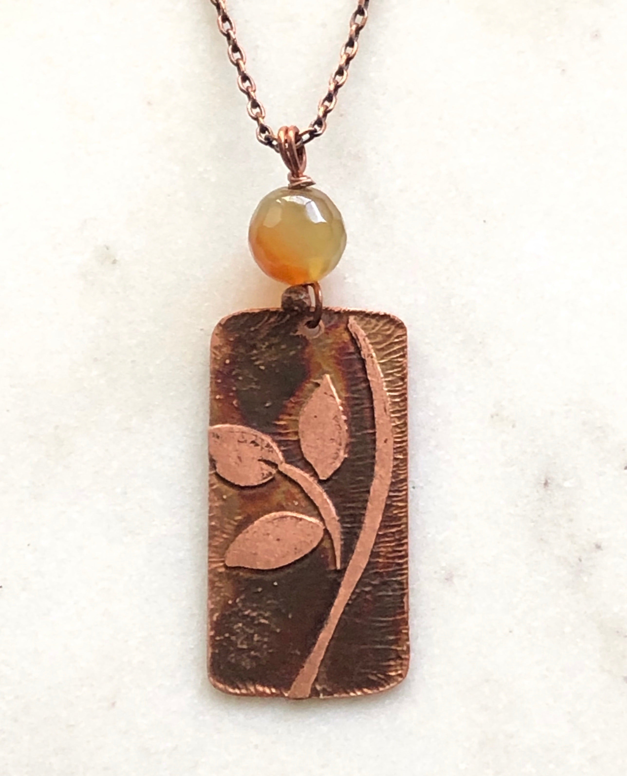 Acid etched copper leaf necklace with agate