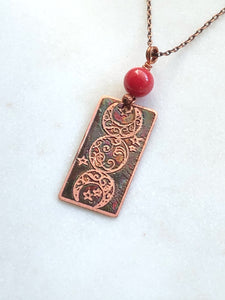 Acid etched copper moon necklace with coral