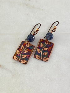 Acid etched copper leaf earrings with agate gemstone
