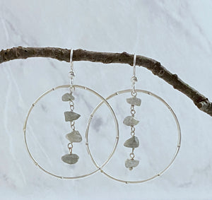Sterling silver forged earrings with labradorite