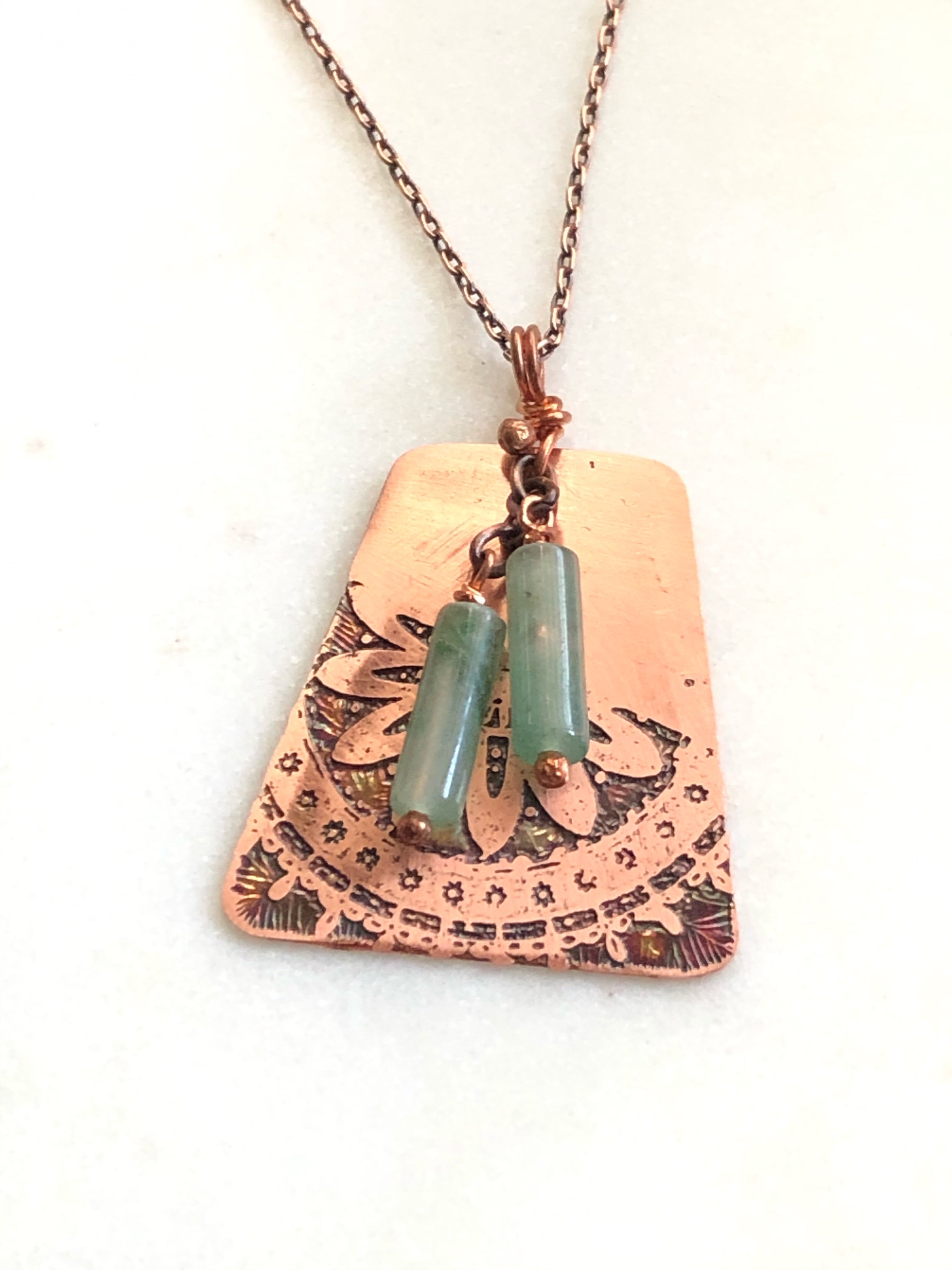 Acid etched copper mandala necklace with aventurine