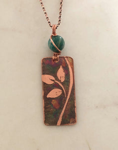 Acid etched copper leaf necklace with amazonite