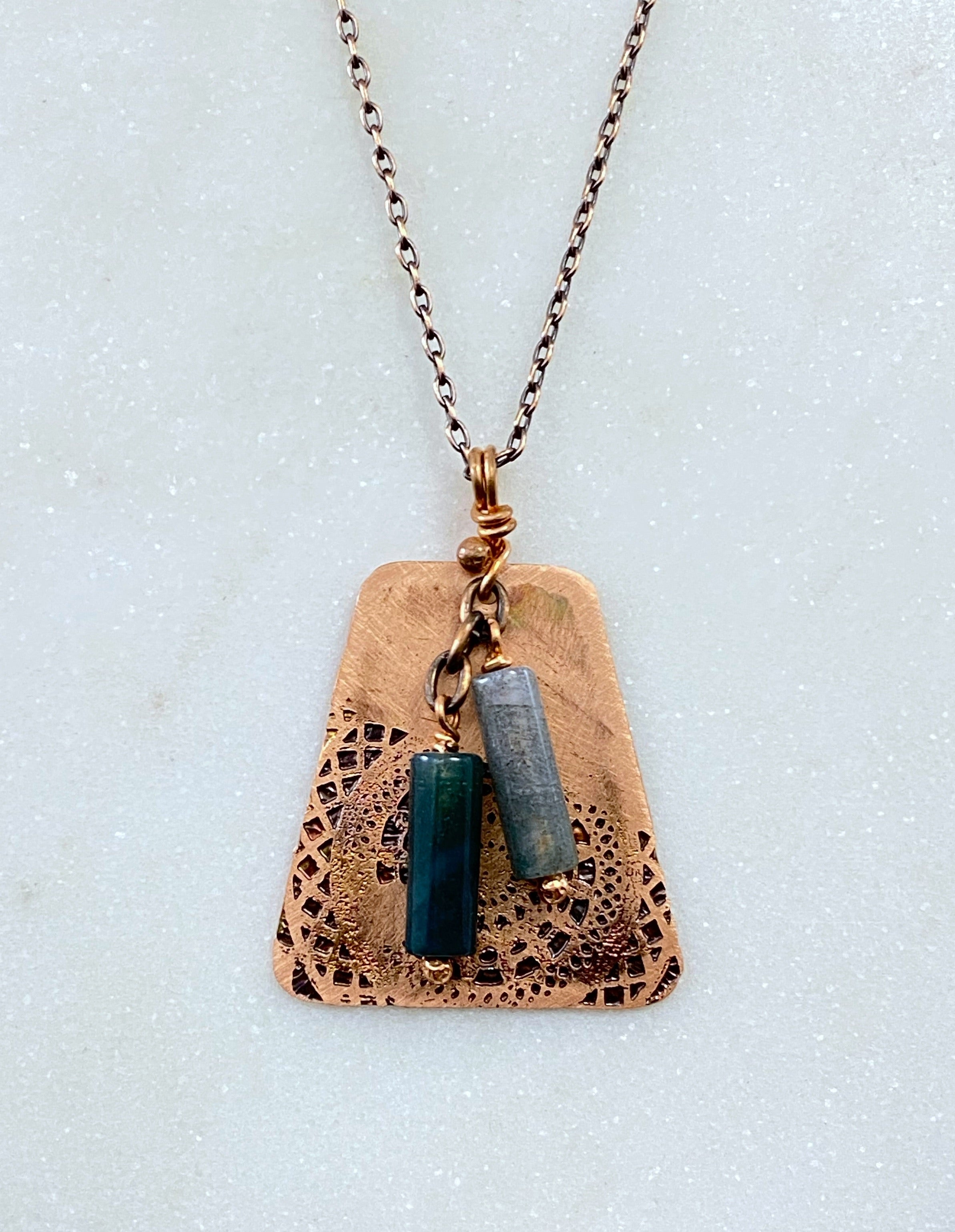 Acid etched copper mandala necklace with moss agate