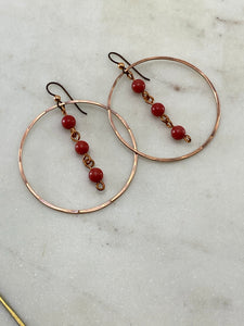 Forged copper earrings with coral