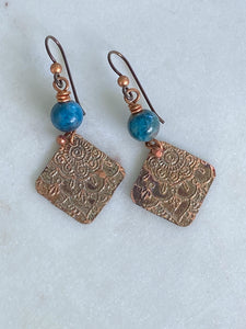 Acid etched copper mandala earrings with apatite