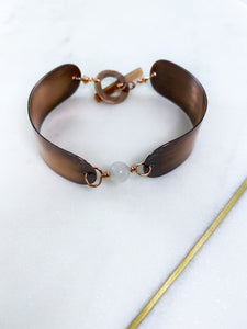 Copper and moonstone bracelet