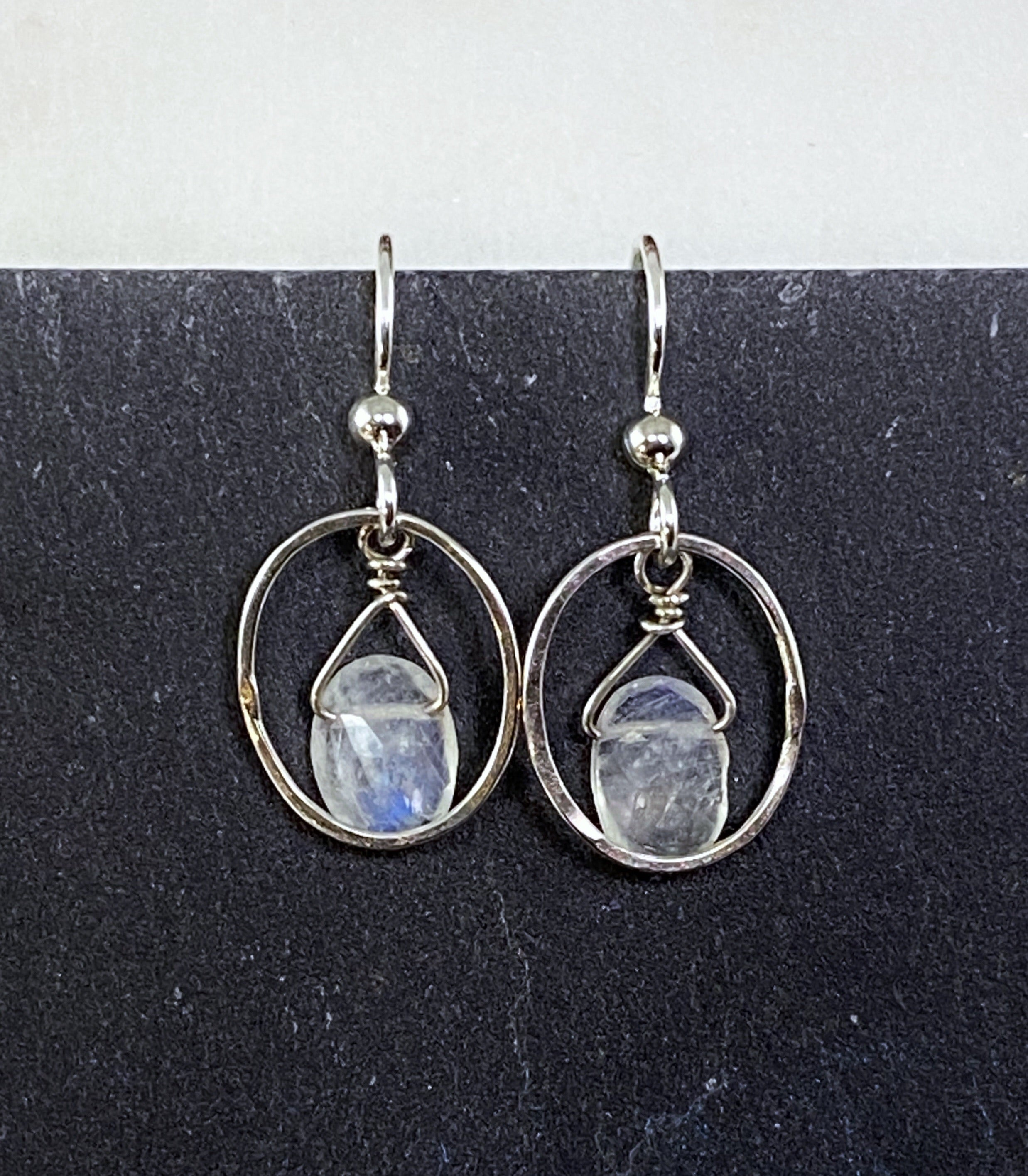 Sterling silver small forged oval hoop with rainbow moonstone