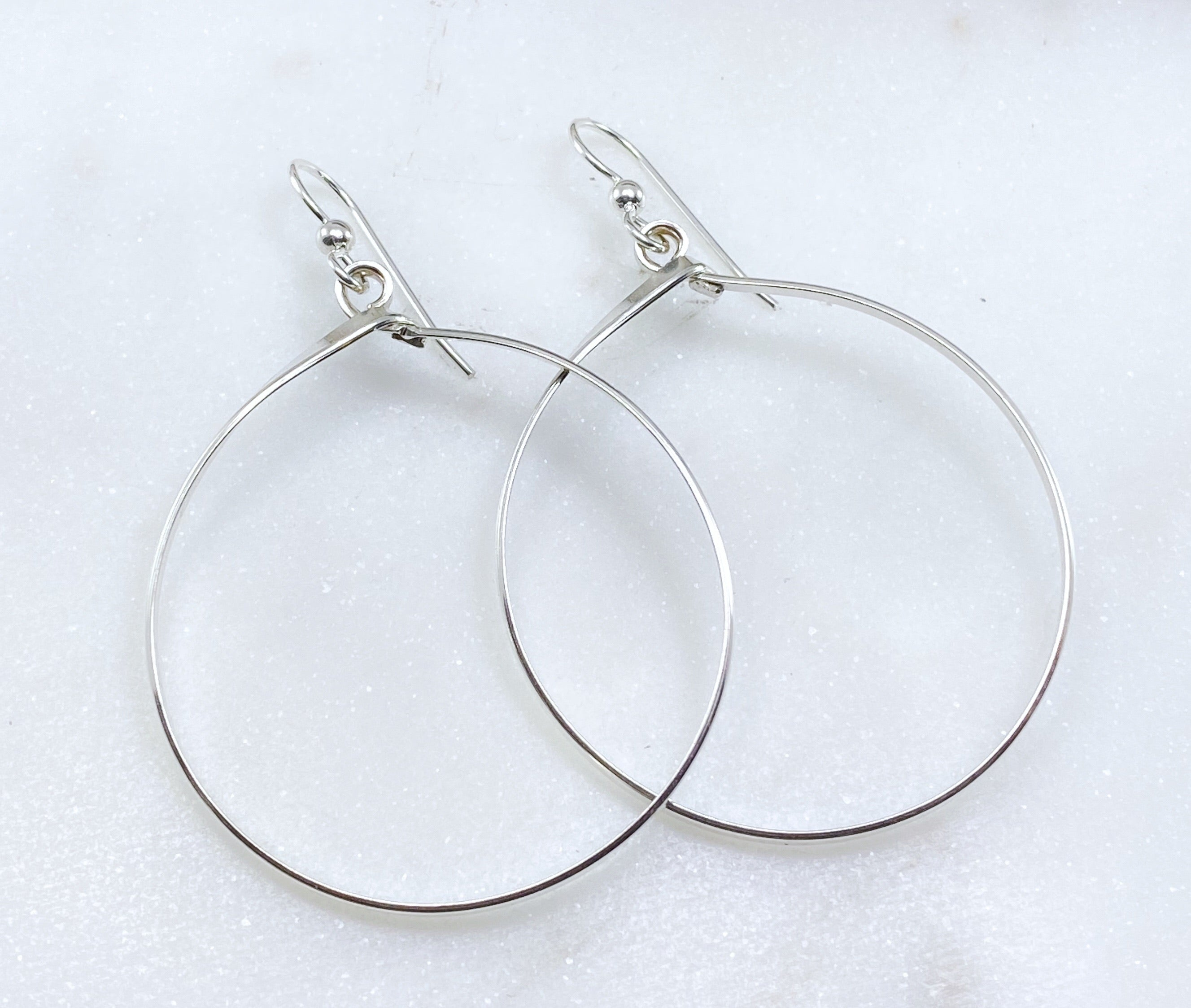 Sterling silver large hoop earrings