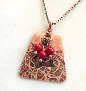 Acid etched copper swirl necklace with coral