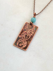 Acid etched copper moon necklace with apatite