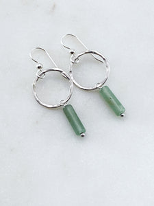 Sterling silver forged hoop earrings with aventurine