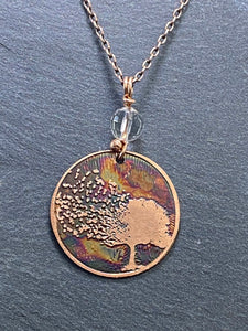 Acid etched copper tree necklace necklace quartz