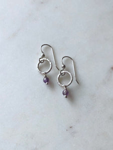 Small hammered sterling silver and amethyst gemstone hoops
