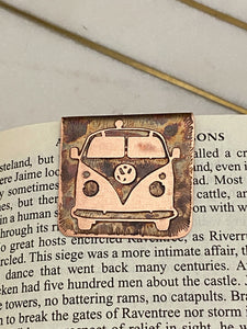 Acid etched copper VW bookmark