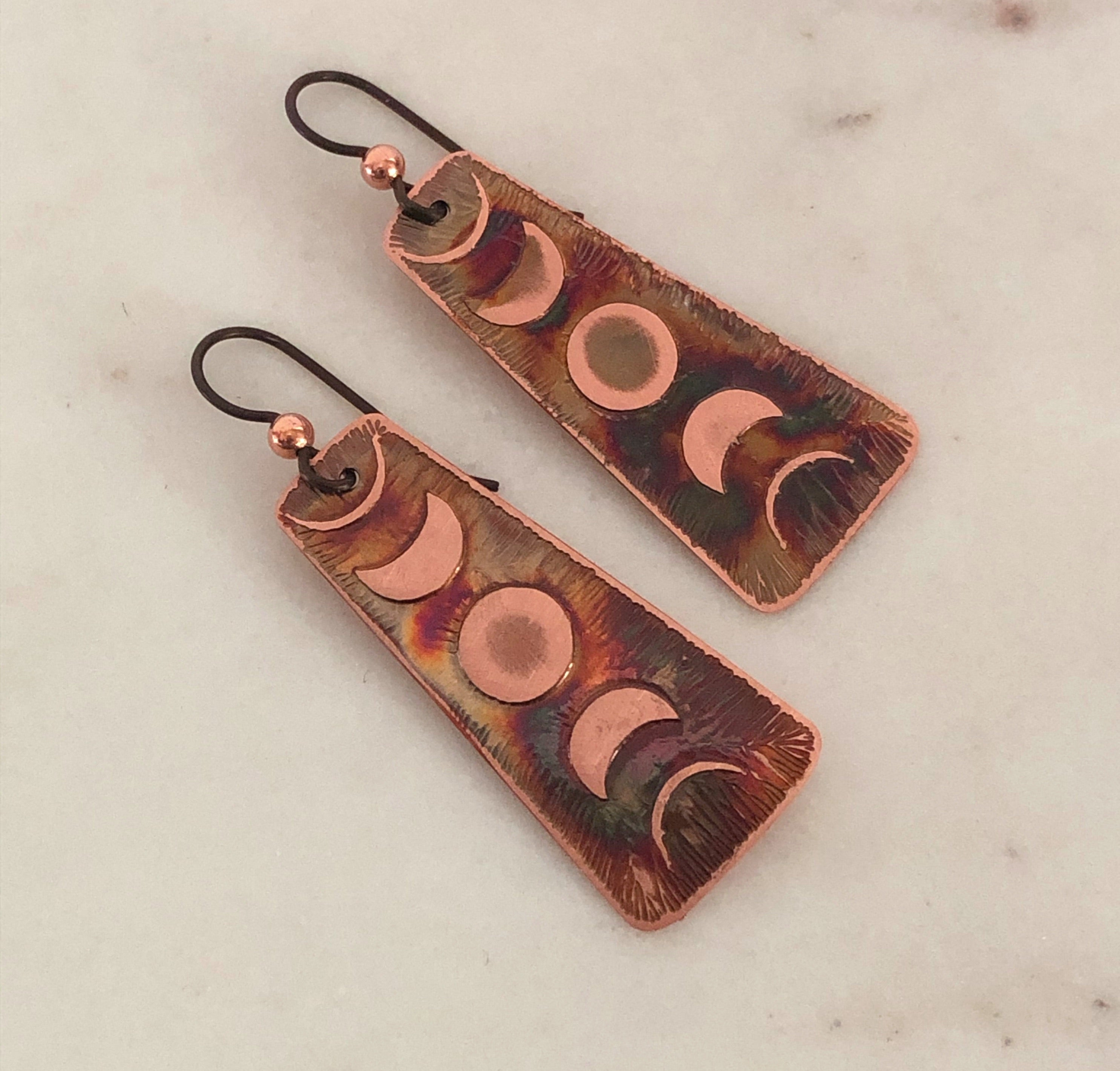 Acid etched copper moon phase earrings