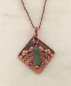 Acid etched copper lace necklace with moss agate