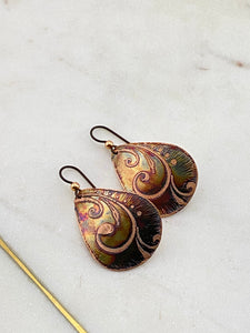 Acid etched copper swirl medium teardrop earrings