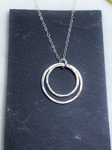Sterling silver forged double hoop necklace