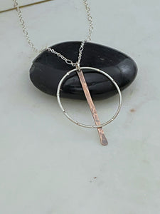 Sterling silver forged hoop necklace with copper paddle
