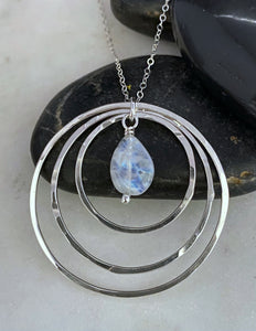 Sterling silver and moonstone forged hoop necklace