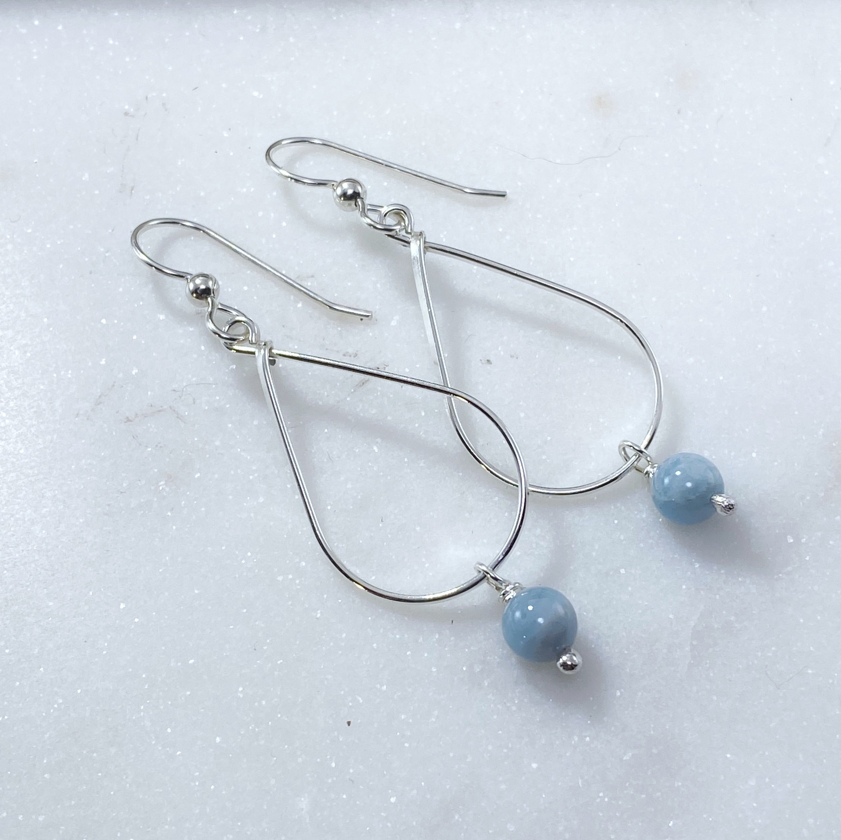 Sterling silver and aquamarine teardrop earrings