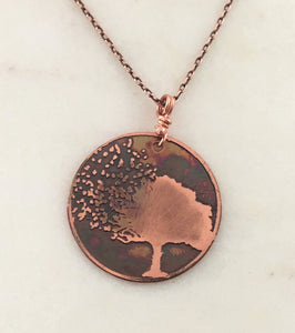 Acid etched copper blowing tree necklace
