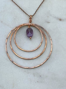 Forged copper hoop necklace