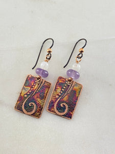 Acid etched copper earrings with amethyst and moonstone gemstones
