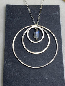 Sterling silver forged triple hoop necklace with rainbow moonstone
