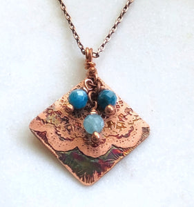 Acid etched copper mandala necklace with apatite