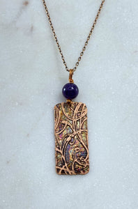Acid etched copper swirl necklace with amethyst