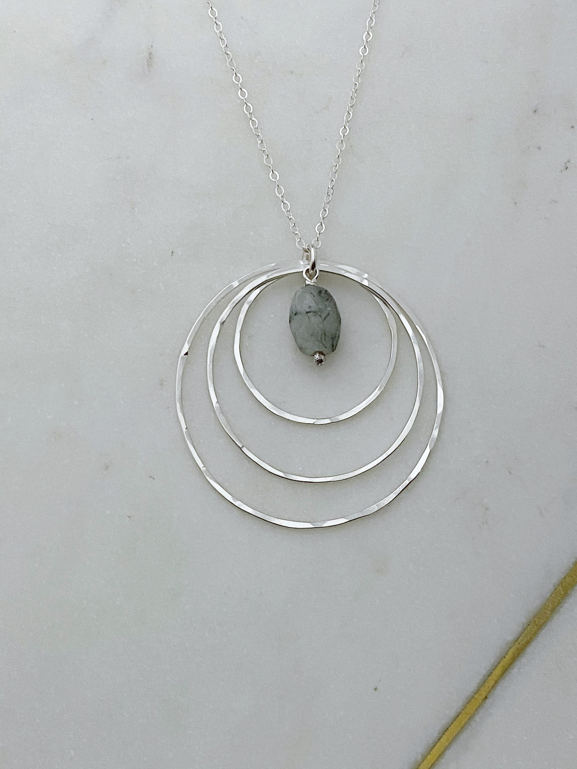 Sterling silver and tree agate forged hoop necklace