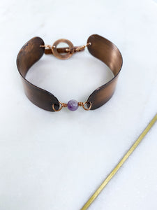 Copper and amethyst braclet