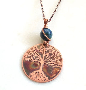 Acid etched copper tree necklace with Azurite chrysocalla