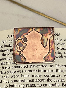 Acid etched copper teapot bookmark